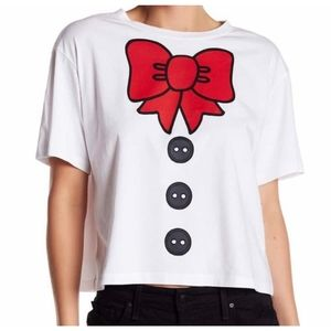 LOVE MOSCHINO Red  Bow Slightly Cropped Tee